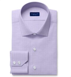 Non-Iron Stretch Lavender Grid Custom Made Shirt