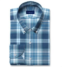 Slate and Blue Indian Madras Custom Dress Shirt