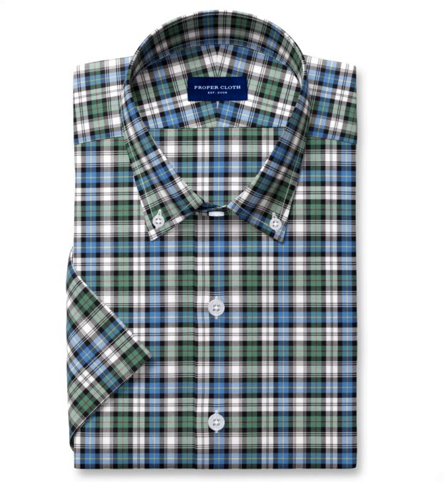 Thomas Mason Non-Iron Sage and Blue Plaid Short Sleeve Shirt