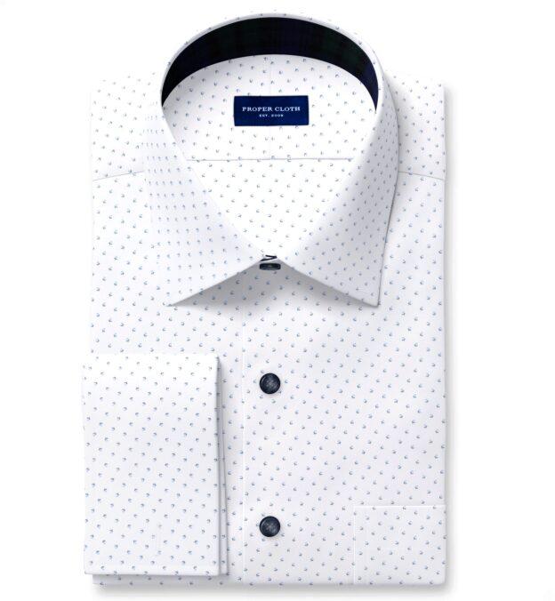 White and Light Blue Micro Floral Print Custom Dress Shirt