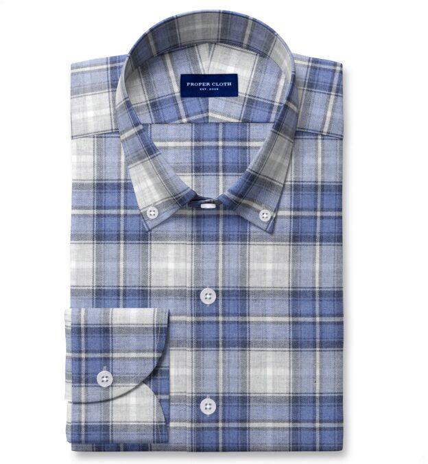 Grey and Blue Melange Plaid Custom Dress Shirt