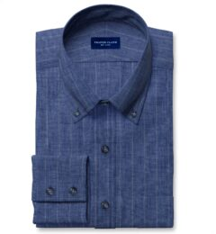 Leomaster Faded Blue Pinstripe Linen Fitted Dress Shirt