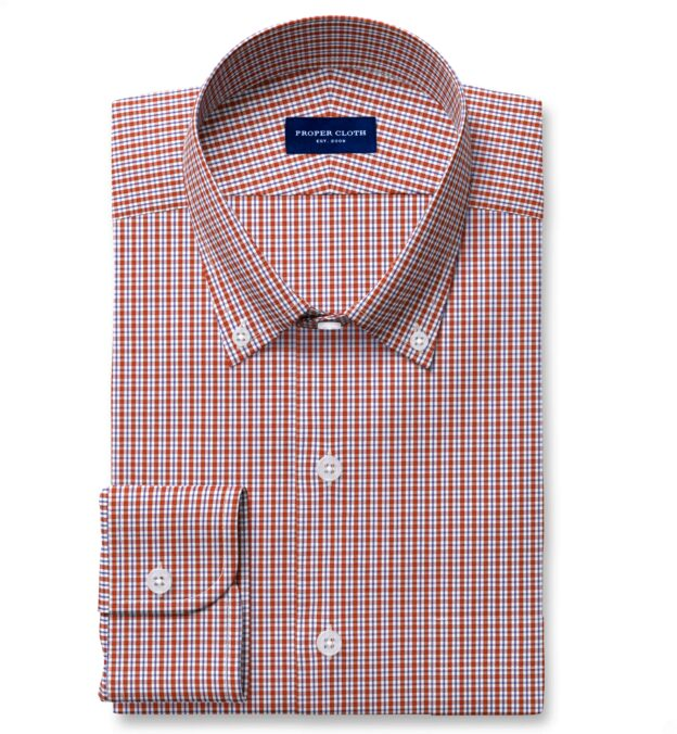 Performance Scarlet and Navy Small Check Tailor Made Shirt