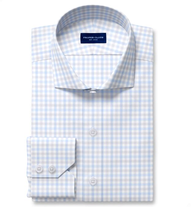 Cooper Light Grey and Blue Check Stretch Twill Fitted Dress Shirt