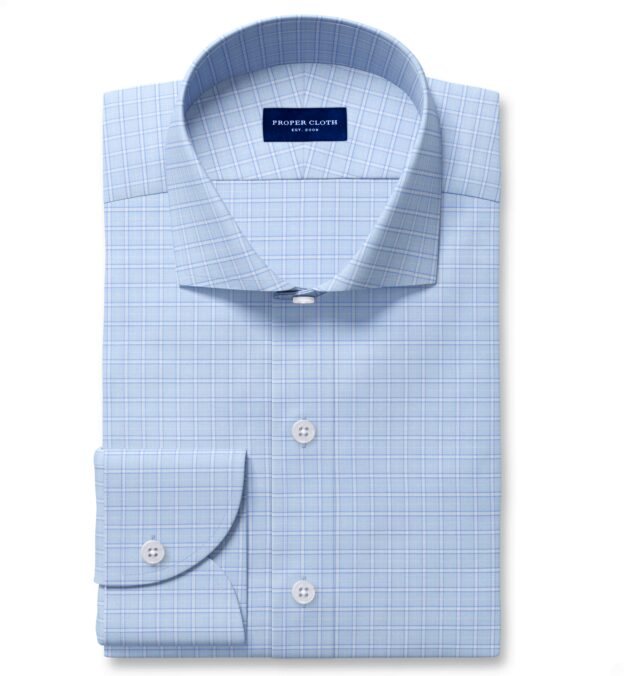 Non-Iron Stretch Light Blue Grid Dress Shirt