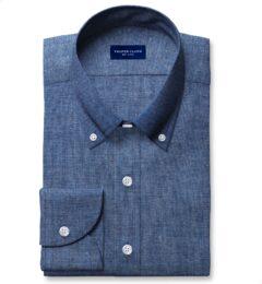 Japanese Slate Blue Chambray Fitted Dress Shirt