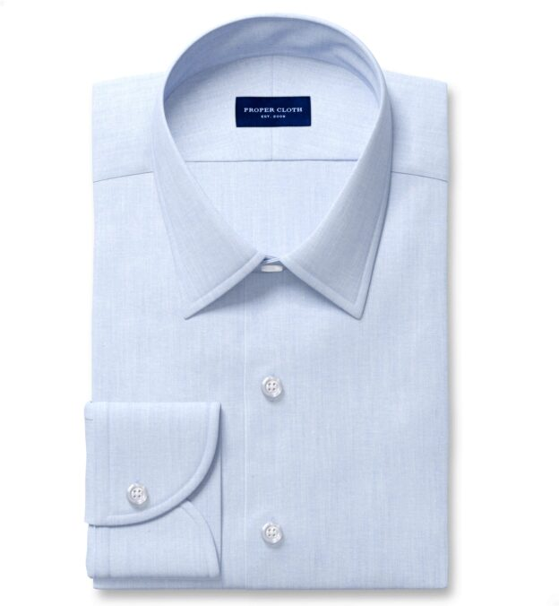 Canclini Light Blue Recycled Cotton Chambray Custom Dress Shirt