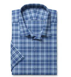 Blue Cotton and Linen Slub Plaid Short Sleeve Shirt