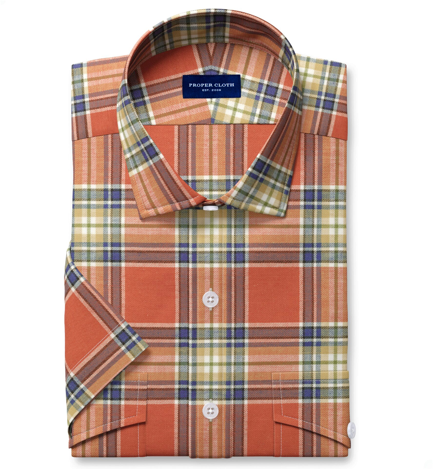 Japanese Tomato and Blue Cotton and Linen Plaid
