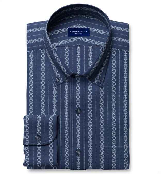 Portuguese Navy and Light Blue Aztec Stripe Tailor Made Shirt