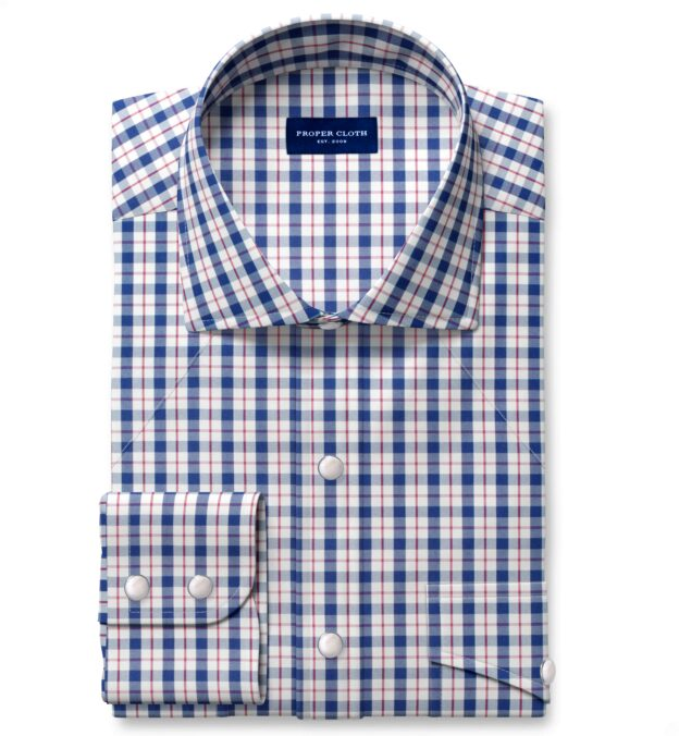 Performance Navy and Red Check Dress Shirt