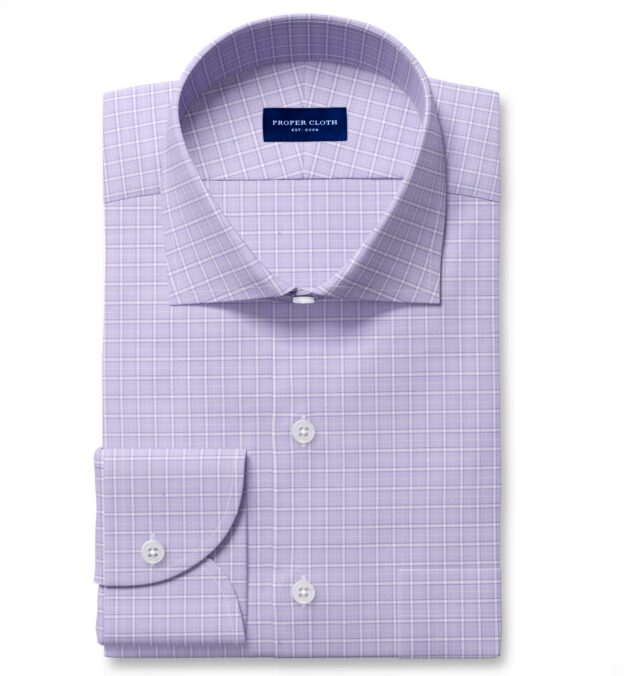 Non-Iron Stretch Lavender Grid Tailor Made Shirt