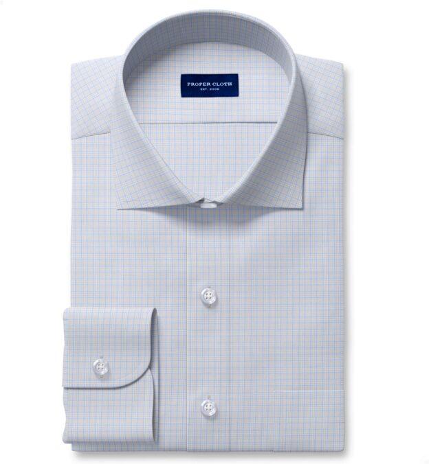 Non-Iron Stretch Light Grey and Blue Small Check Custom Dress Shirt