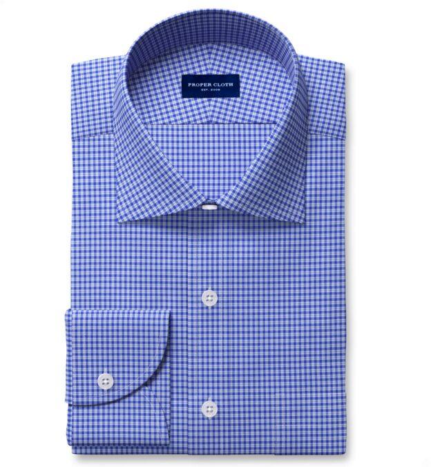 Thomas Mason Non-Iron Stretch Dark Blue Small Check Tailor Made Shirt