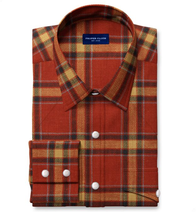 Japanese Washed Scarlet and Gold Country Plaid Fitted Dress Shirt