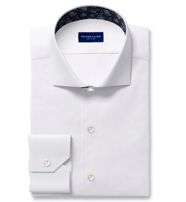 White Diagonal Jacquard Fitted Shirt
