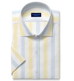 Portuguese Yellow and Light Blue Wide Stripe Cotton Linen Oxford Short Sleeve Shirt