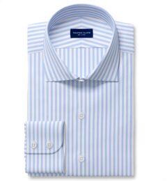 Non-Iron Stretch Light Blue Bengal Stripe Custom Dress Shirt