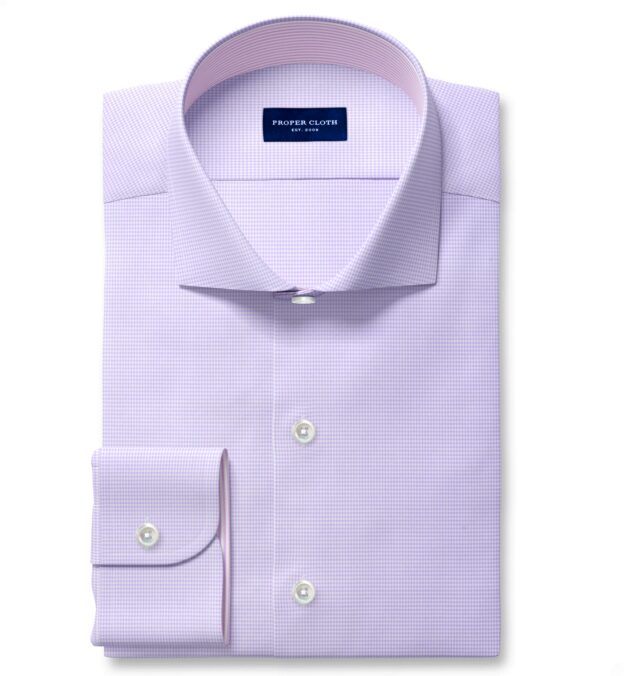 Mayfair Wrinkle-Resistant Lavender Houndstooth Fitted Shirt