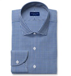 Reda Royal Blue Small Check Merino Wool Fitted Shirt