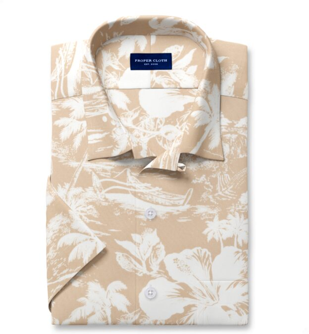 Japanese Beige Aloha Print Short Sleeve Shirt