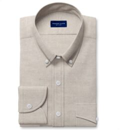Di Sondrio Natural Dye Basketweave Linen Fitted Shirt