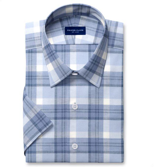 Mesa Faded Blue Cotton and Linen Plaid Short Sleeve Shirt
