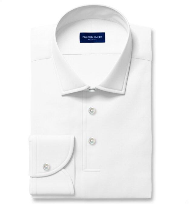 Canclini White Knit Pique Custom Dress Shirt