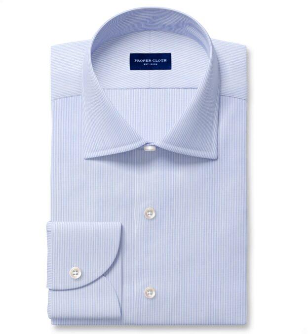 Thomas Mason Blue End-on-End Stripe Fitted Dress Shirt