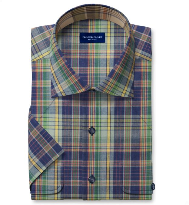 Blue Green and Yellow Indian Madras Short Sleeve Shirt