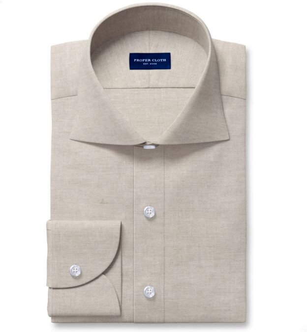 Tessuti di Sondrio Natural Dye Basketweave Linen Fitted Dress Shirt