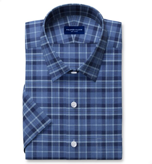 Tonal Blue Cotton and Linen Plaid Short Sleeve Shirt