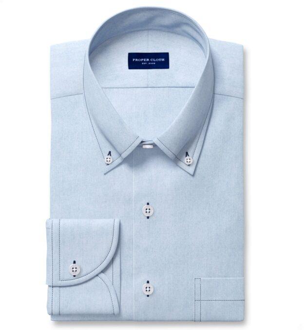 Albiate Washed Light Indigo Contrast Thread 80s Denim Men's Dress Shirt