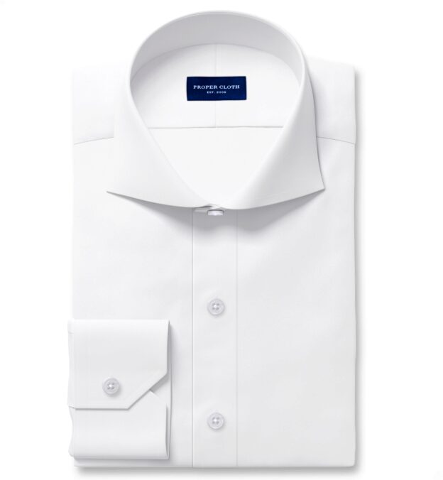 White 120s 3-Ply Fitted Shirt