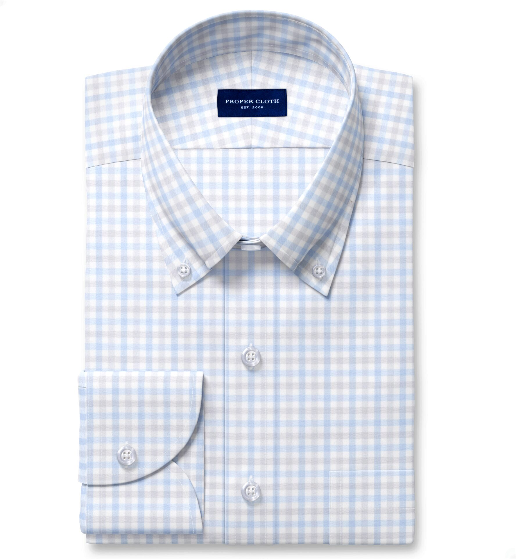 Cooper Light Grey and Blue Check Stretch Twill