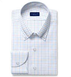 Cooper Light Grey and Blue Check Stretch Twill Fitted Shirt