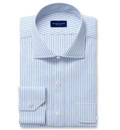 Blue Linen Blend Bengal Stripe Twill Fitted Dress Shirt