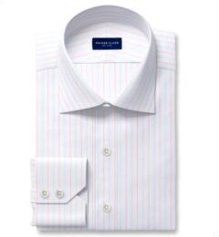 Varese 140s Light Blue and Coral Multi Stripe Dress Shirt