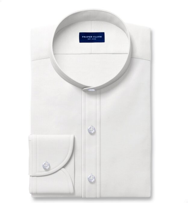 Albini Washed Natural White Linen Twill Custom Dress Shirt
