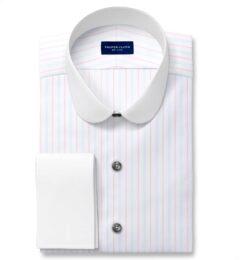 Varese 140s Light Blue and Coral Multi Stripe Custom Dress Shirt