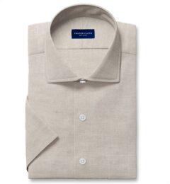 Di Sondrio Natural Dye Basketweave Linen Short Sleeve Shirt