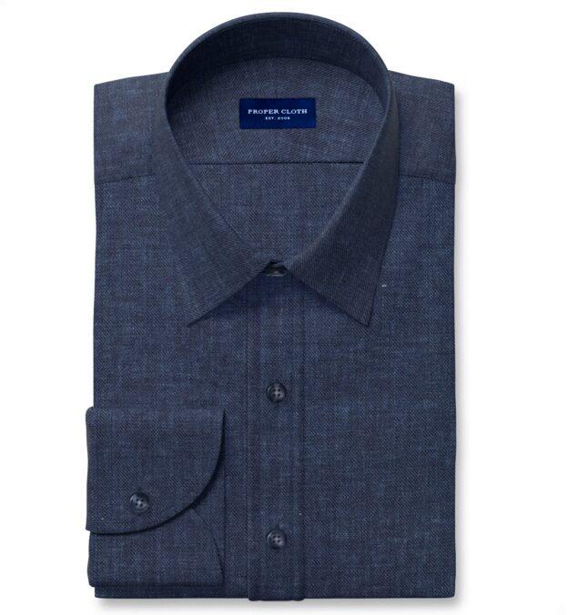 Albini Washed Navy Linen Twill Custom Made Shirt