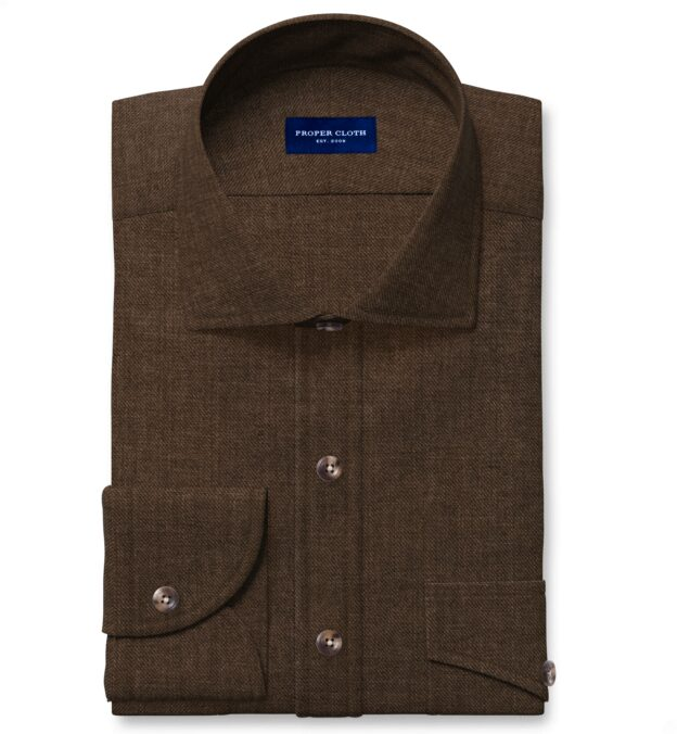Albini Washed Mocha Linen Twill Men's Dress Shirt