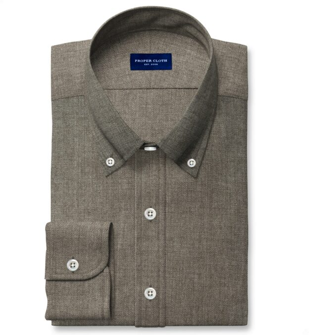 Albini Washed Fatigue Linen Twill Dress Shirt