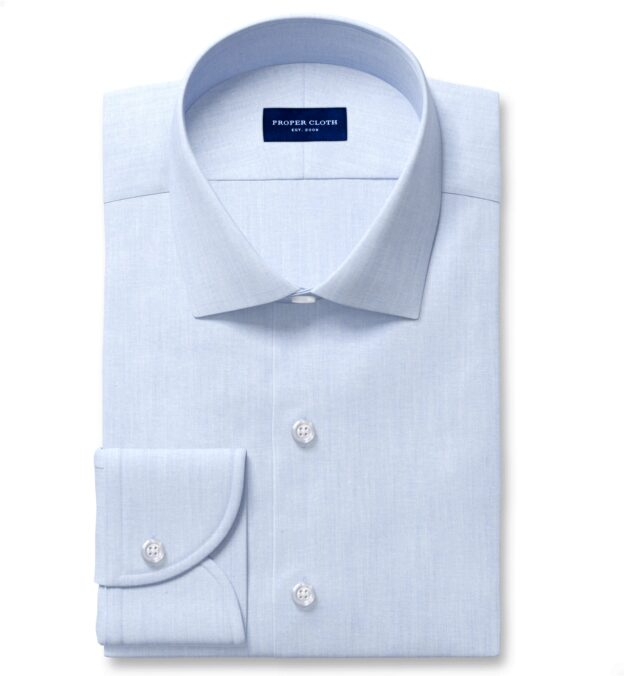 Canclini Light Blue Recycled Cotton Chambray Men's Dress Shirt