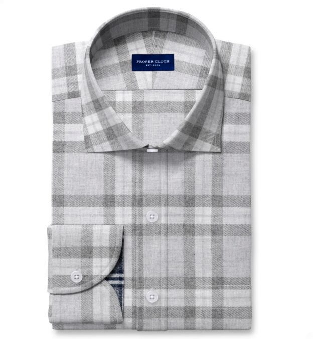 Teton Grey Tonal Plaid Flannel Tailor Made Shirt