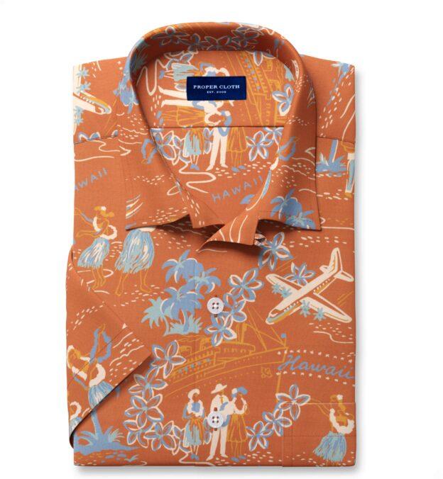 Japanese Terra Cotta Aloha Print Rayon Short Sleeve Shirt
