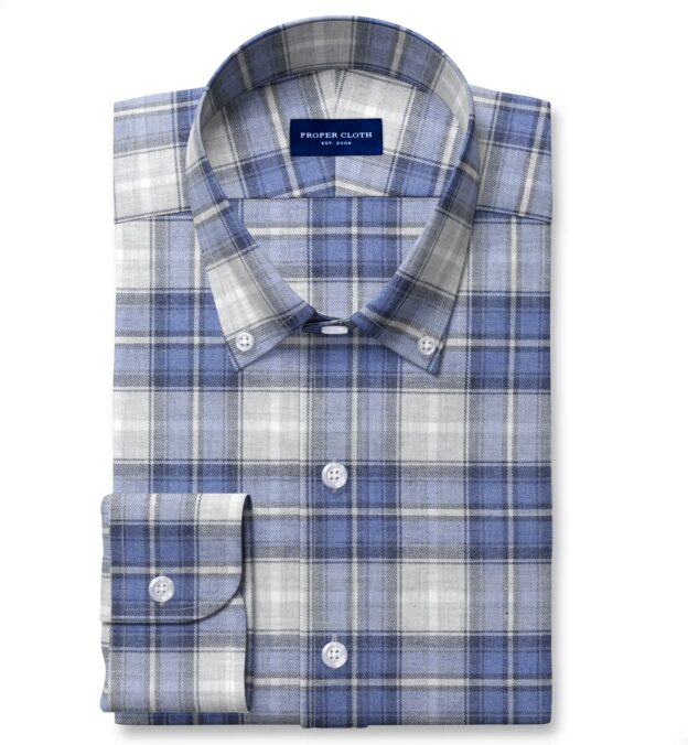 Grey and Blue Melange Plaid Dress Shirt