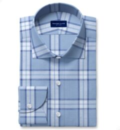 Faded Blue Cotton Tencel and Linen Blend Vintage Plaid Custom Made Shirt