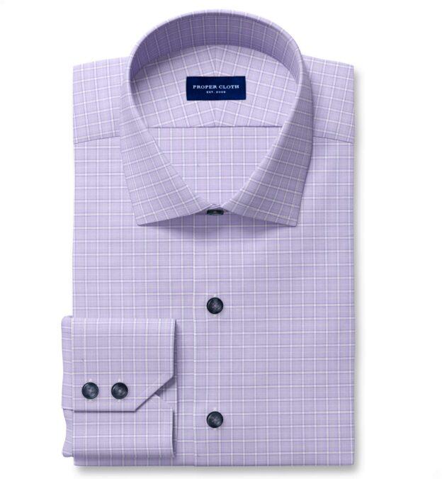 Non-Iron Stretch Lavender Grid Men's Dress Shirt